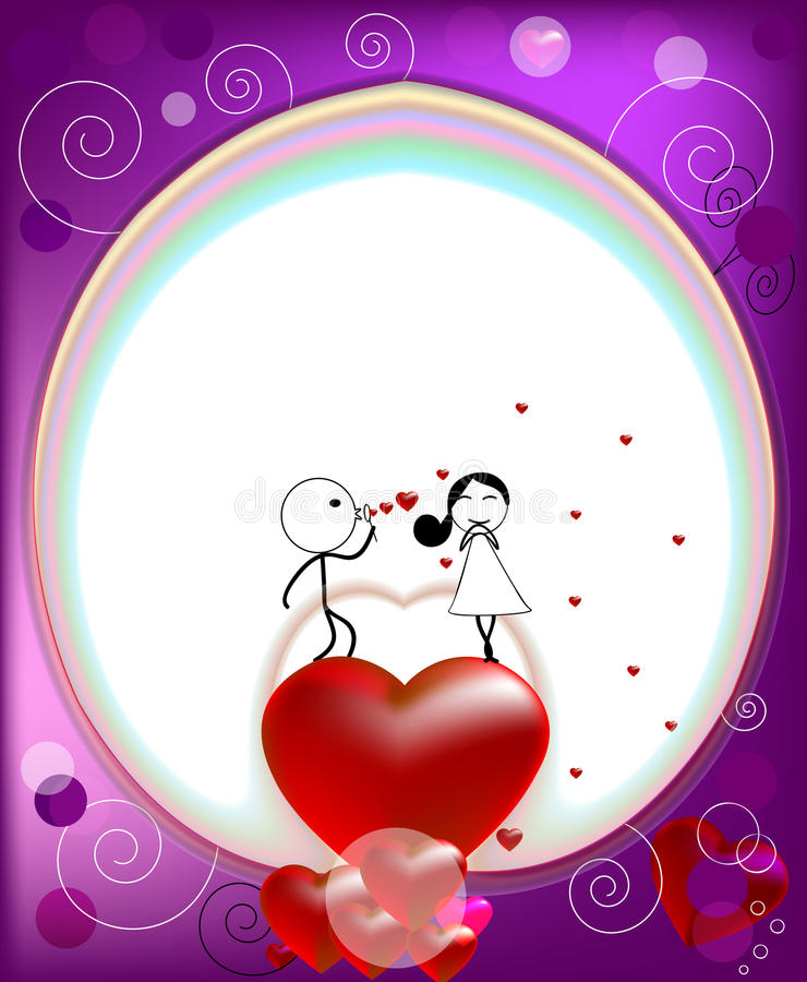 Man blowing hearts for woman vector illustration