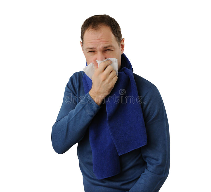 Download Man Blowing His Nose Isolated On White Royalty Free Stock Photography - Image: 28933747