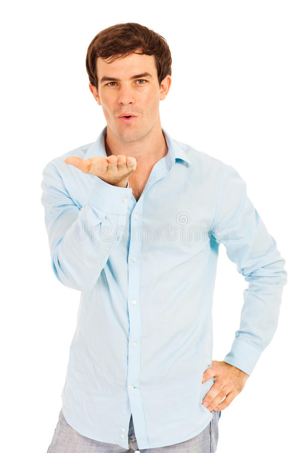 Download Man blowing kiss stock image. Image of confident, background - 34731917