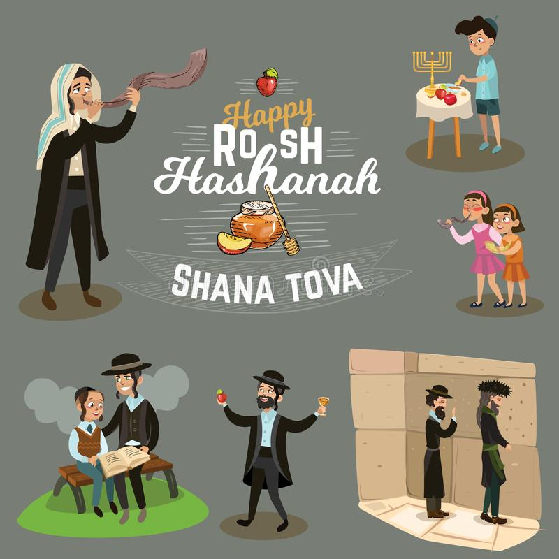 Man blowing Shofar horn for the Jewish New Year, father and son reading the Haggadah on Rosh Hashanah holiday, prays stock illustration