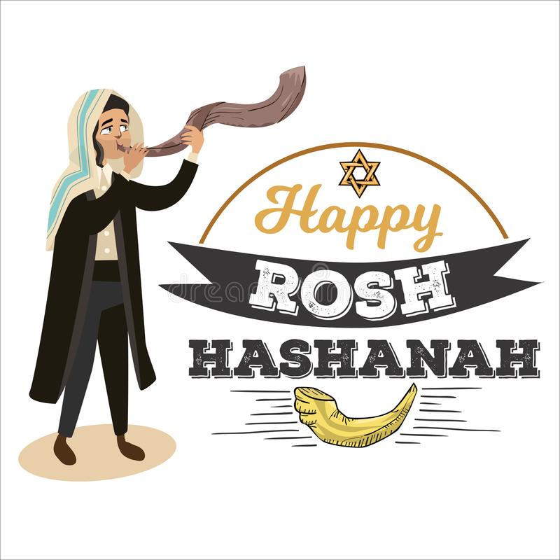 Man blowing Shofar horn for the Jewish New Year, Rosh Hashanah holiday, judaism religion vector illustration with logo stock illustration