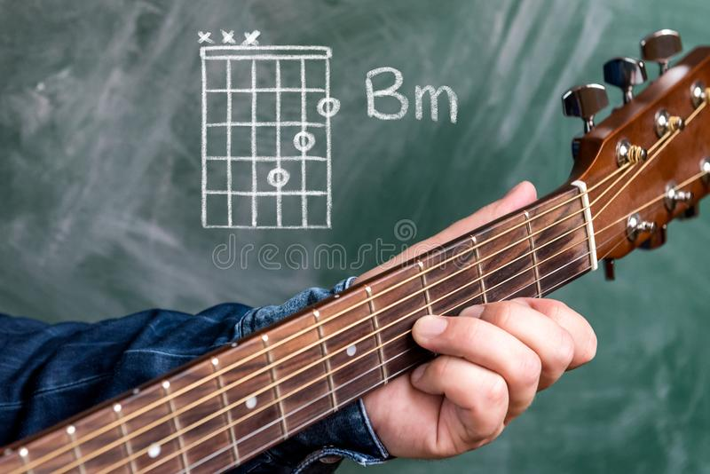 Man playing guitar chords displayed on a blackboard, Chord B minor. Man in a blue denim shirt playing guitar chords displayed on a blackboard, Chord B minor stock image
