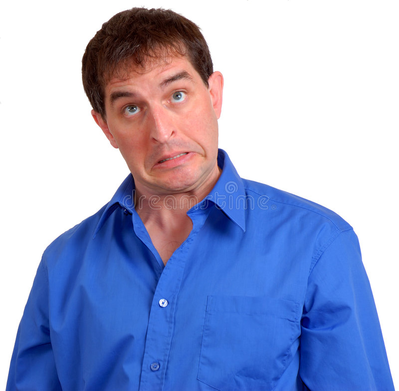 Man in Blue Dress Shirt 4. Man in blue dress shirt making a strange face stock photography