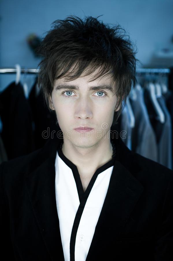 Man with blue eyes stock photography