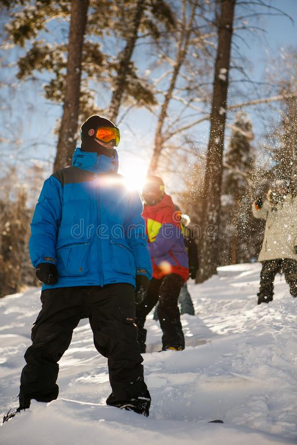 Man in Blue Full-zip Jacket on Snowy Field royalty free stock images