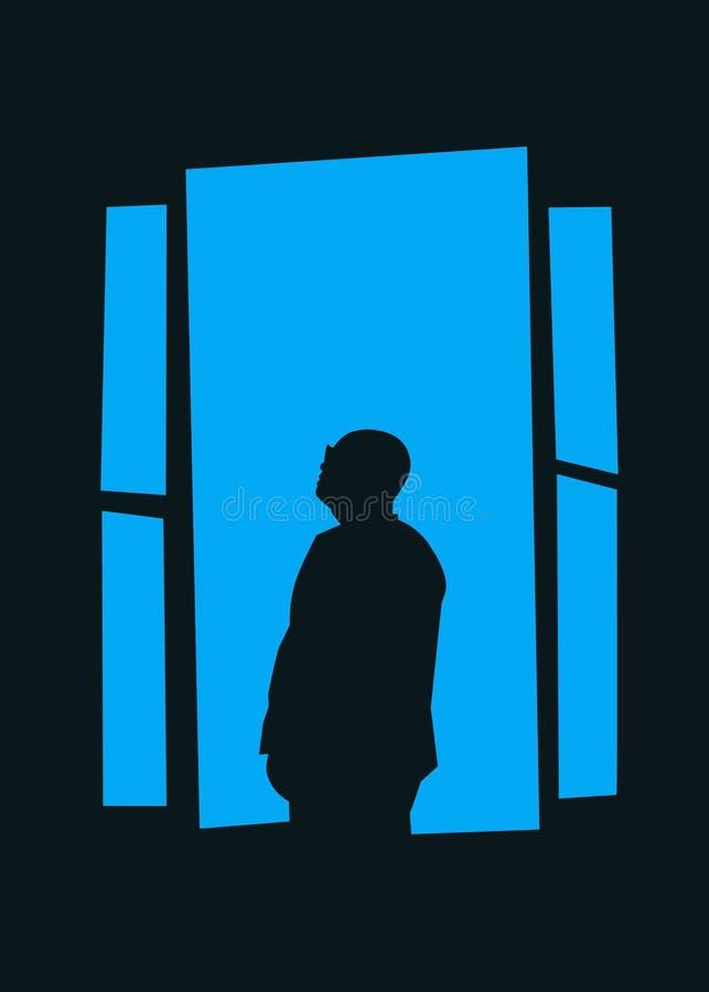 Man on blue moon art design stock image