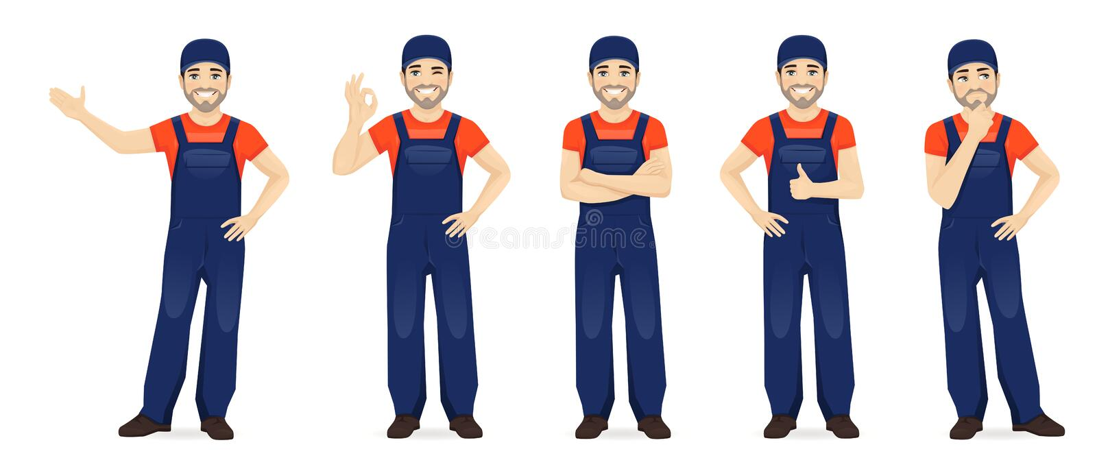 Man in overalls. Man in blue overalls set with different gestures isolated vector illustration royalty free illustration