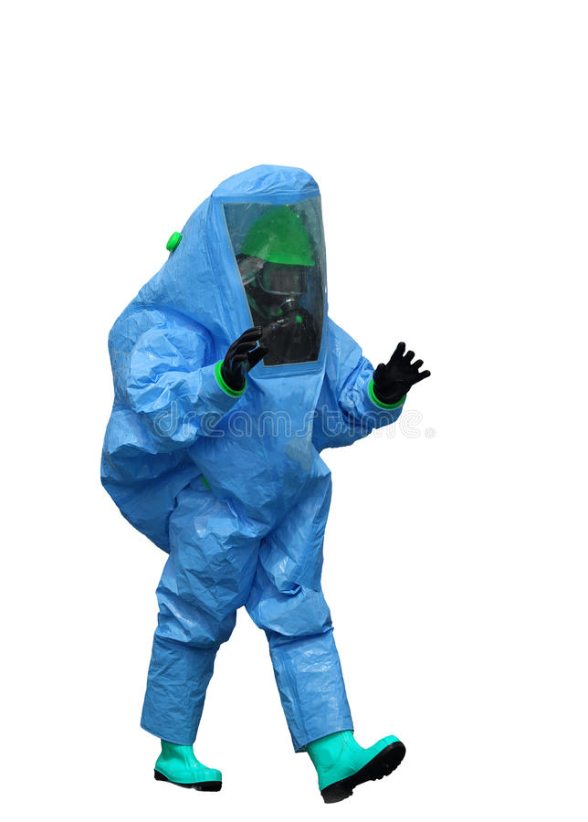 Man with a blue protective suit against radiation and chemical a. Man with a blue protective suit against polluted air on white background stock image