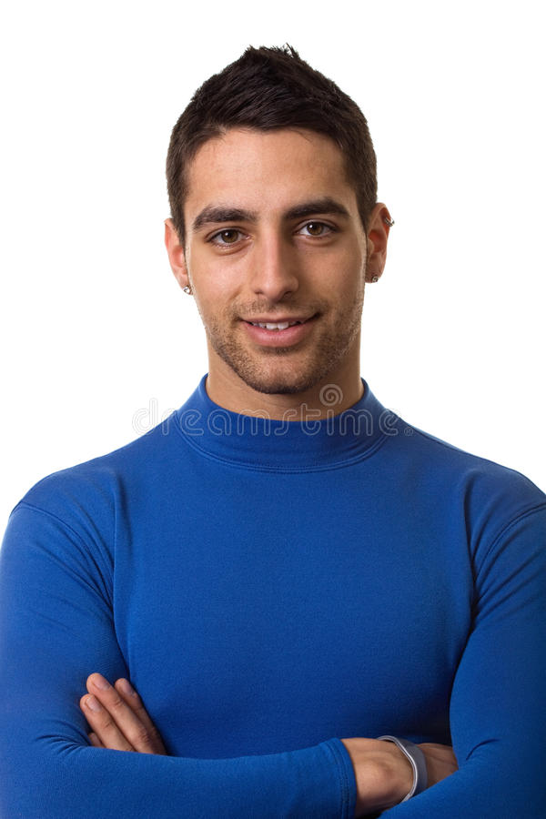 Man in Blue Shirt. Man in a blue compression shirt. Studio shot over white royalty free stock photos
