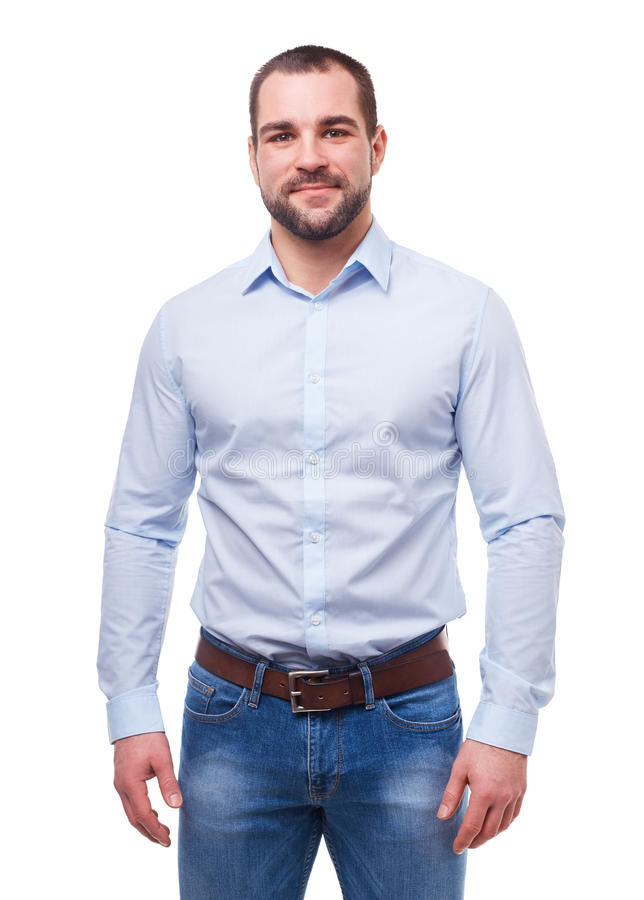 Man in blue shirt on white royalty free stock photo