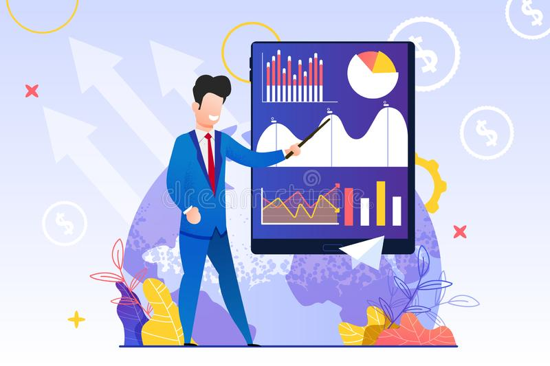 Man in Blue Suit Shows Pointer Chart Screen Tablet royalty free illustration