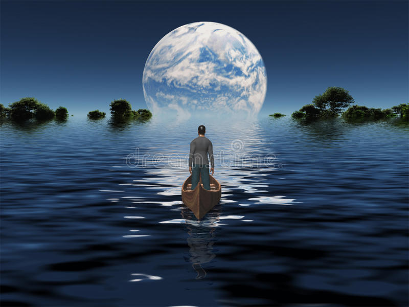 Man in boat with blue Planet stock illustration