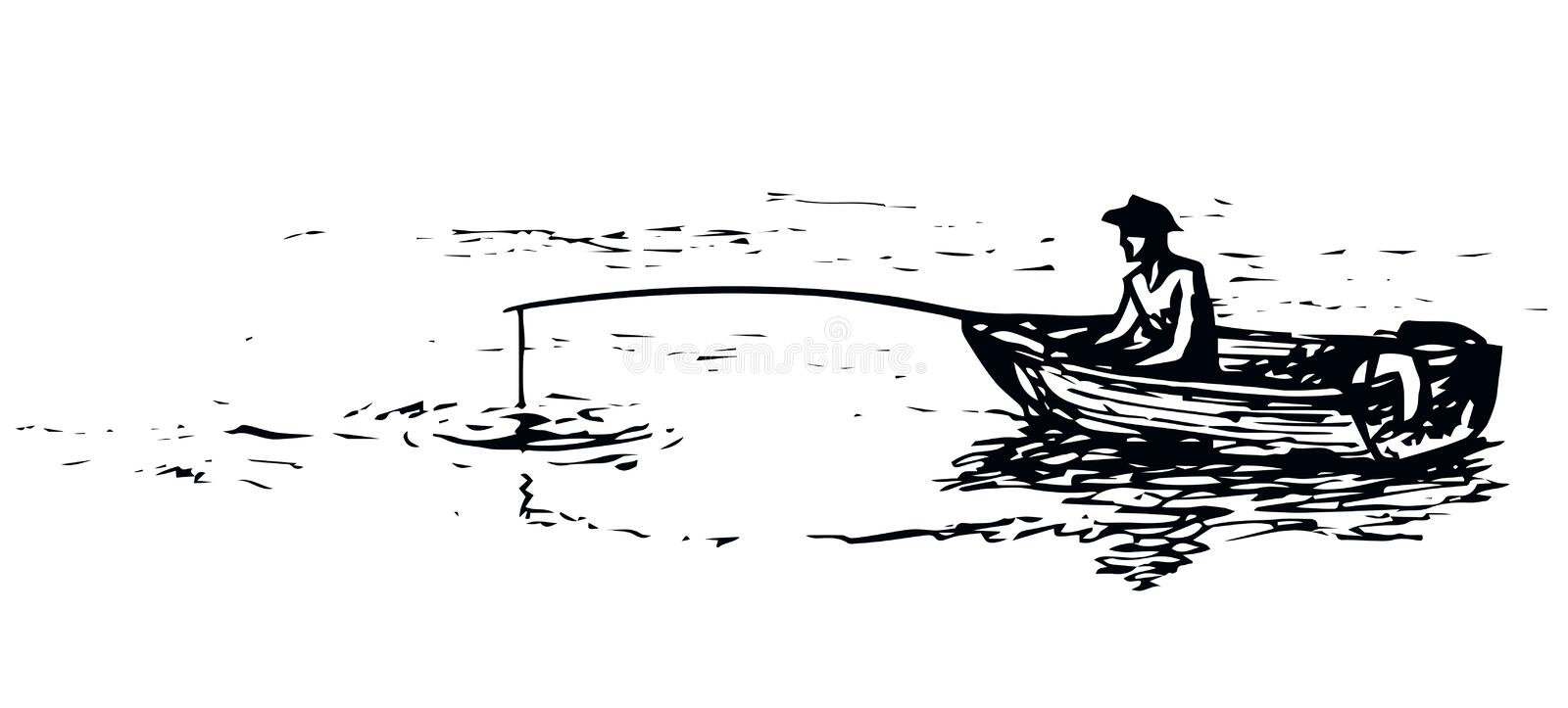 The man in the boat is fishing. Vector drawing stock illustration
