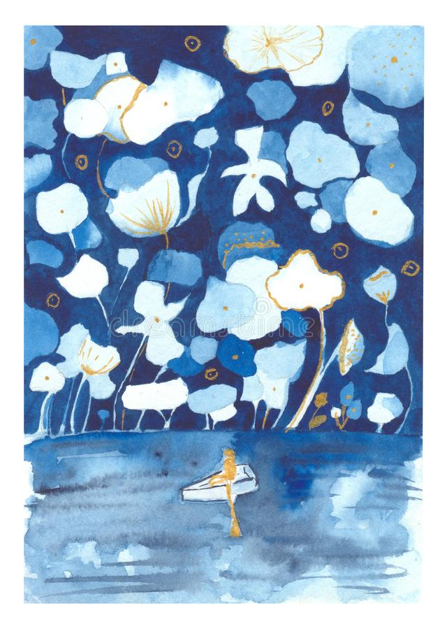 Watercolor illustration of a man in a boat in a fairy forest with huge flowers stock illustration