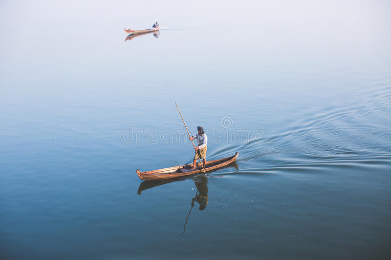 Man on the boat royalty free stock photos