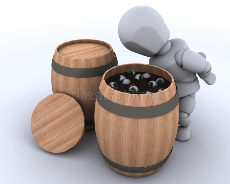 Download Man Bobbing For Eyeballs In A Barrel Stock Illustration - Image: 27096298