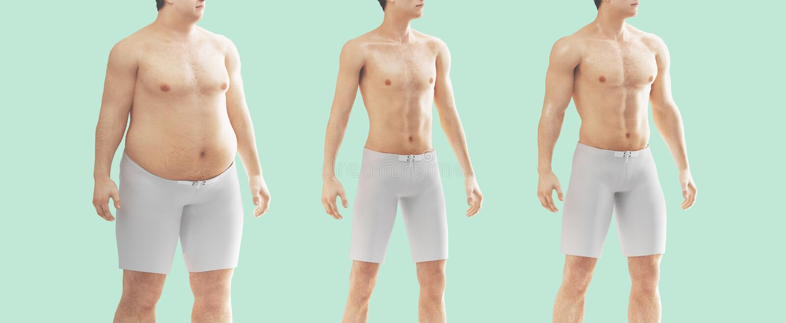 MAn body fat and thin, diet, gym stock photography