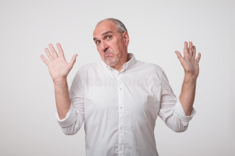 Man body language. I did not do it concept. royalty free stock photos