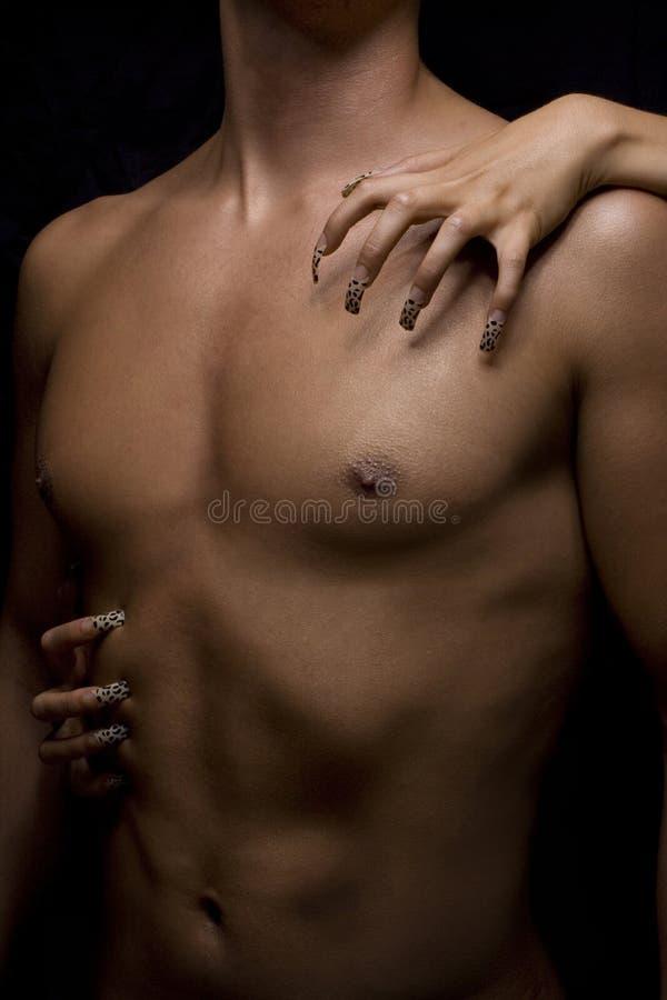Man body and nail. Man body and woman nail stock image