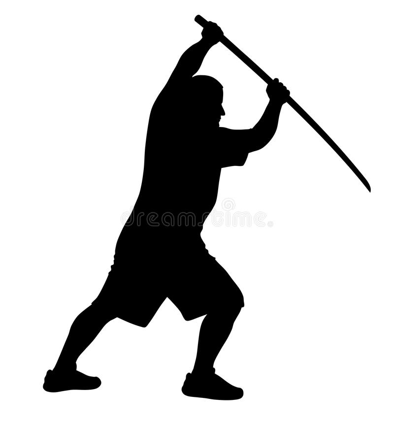 Man with bokken stock illustration