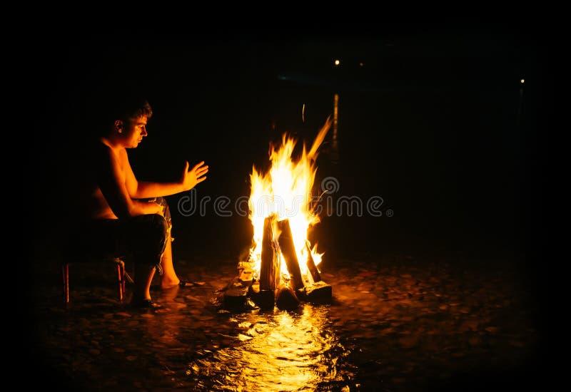 Man - Bonfire royalty free stock image