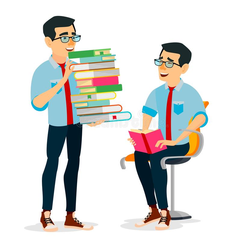 Man In Book Club Vector. Carrying Large Stack Of Books. Studying Student. Library, Academic, School, University Concept royalty free illustration