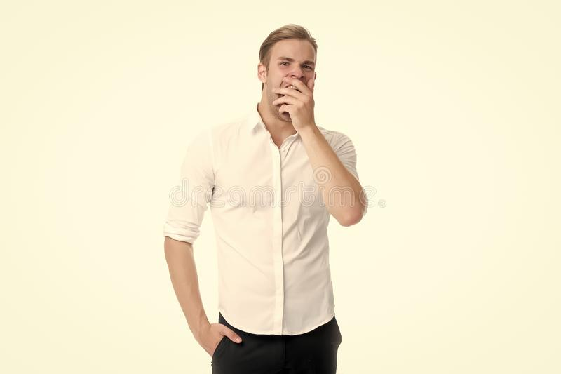Man bored yawning white background. Fed up with this. Feel tired and sleepy. Sleepy guy in formal clothes. Bored worker royalty free stock images
