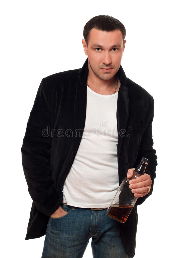Download Man With A Bottle Of Scotch. Isolated Royalty Free Stock Photo - Image: 21258705