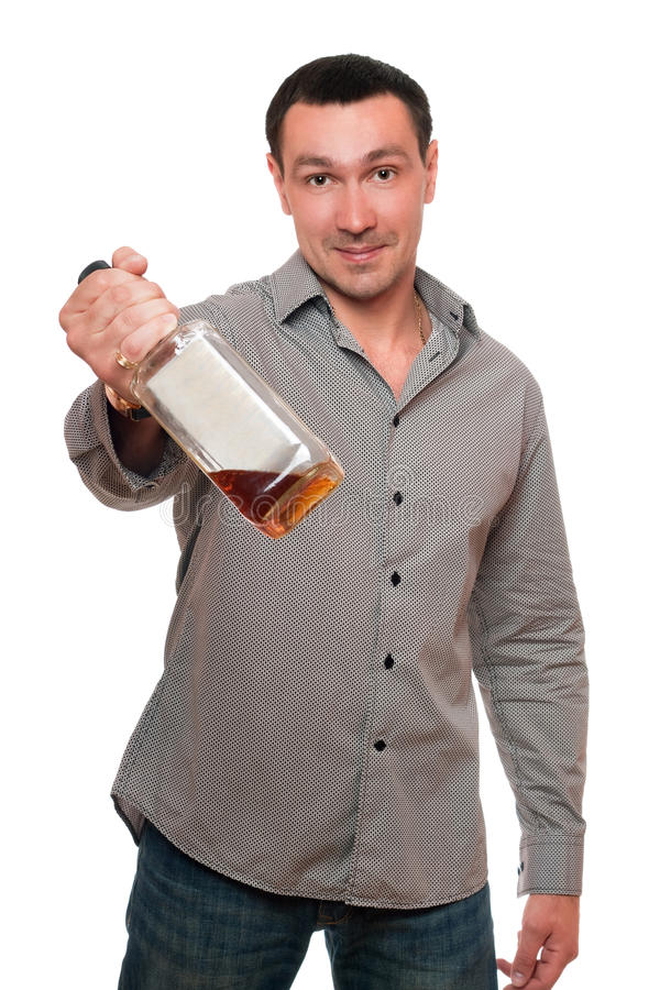 Download Man With A Bottle Of Whiskey Stock Image - Image of people, handsome: 23190779