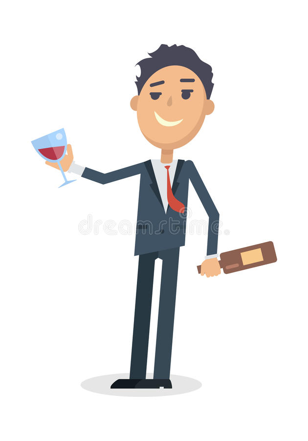 Man with Bottle of Wine Isolated on White. Vector royalty free illustration