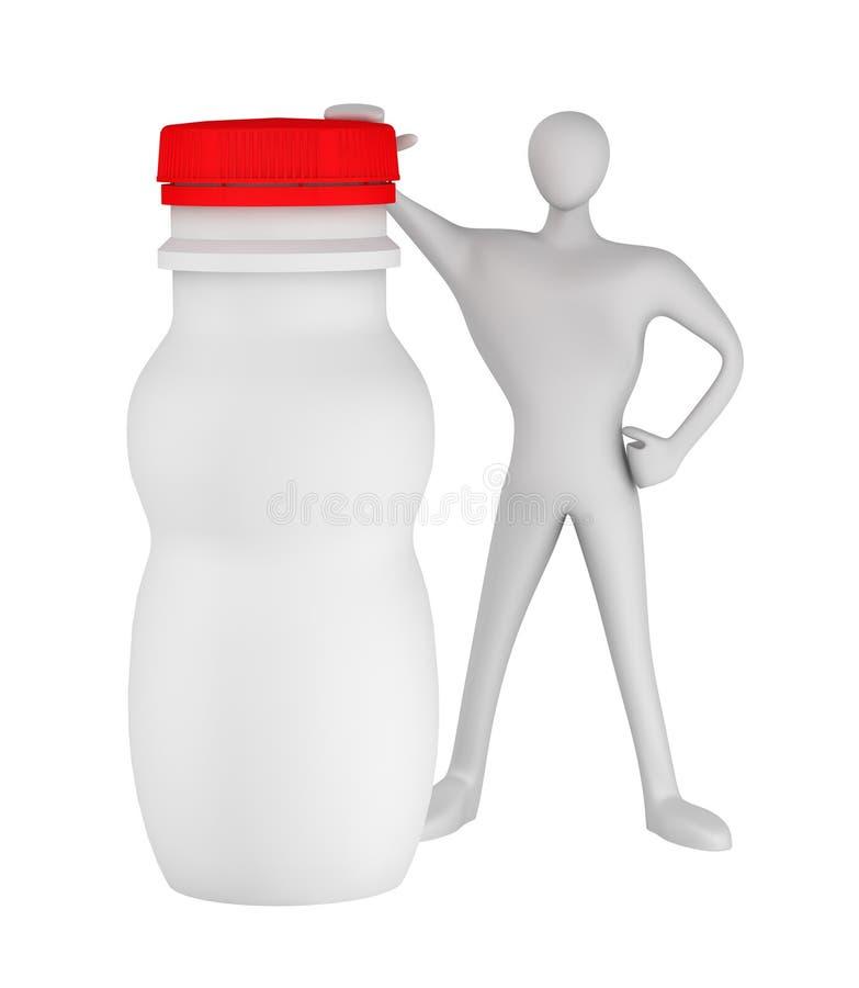 Download Man with bottle for yogurt stock illustration. Image of freshness - 24464024