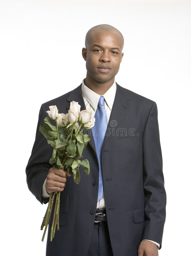 Man with a bouquet royalty free stock image