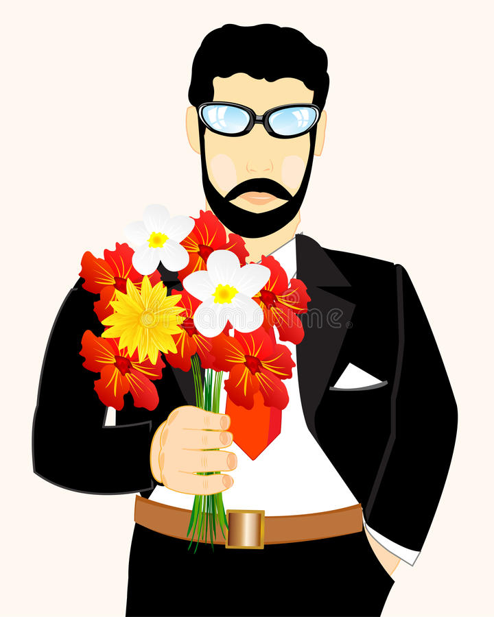 Man with bouquet flower. Young man with bouquet flower in hand royalty free illustration