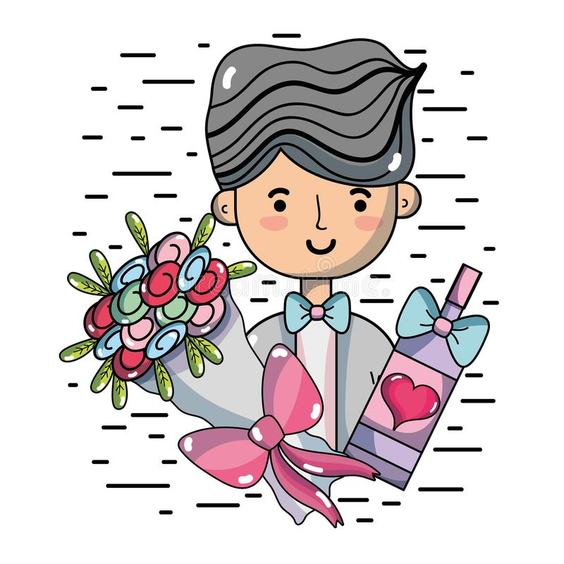 Man with bouquet flowers and champagne. Vector illustration vector illustration