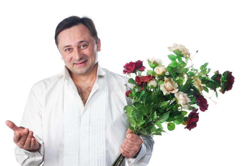 A man with a bouquet of roses stock photos