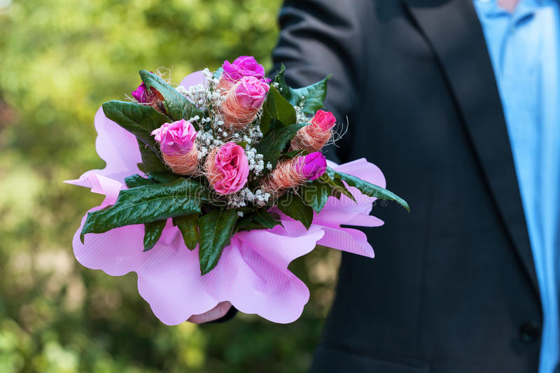 Download Man with bouquet of roses stock photo. Image of lover - 34962108
