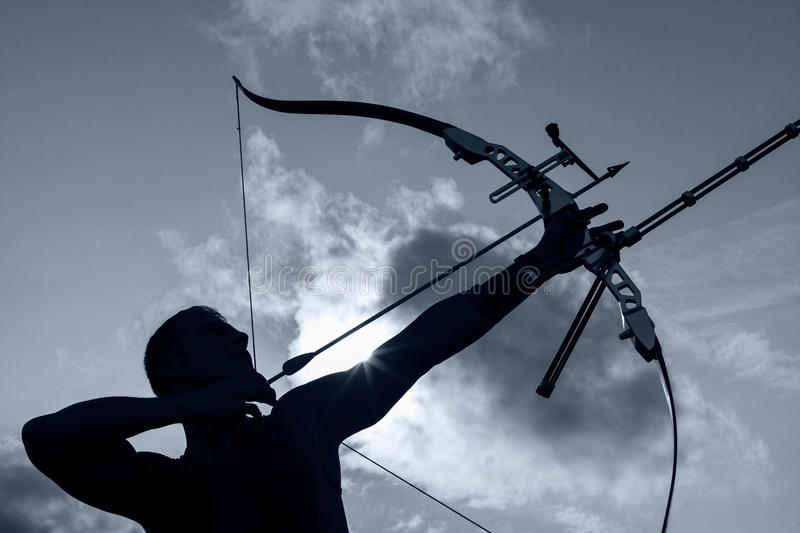 Man with bow and arrows royalty free stock photos