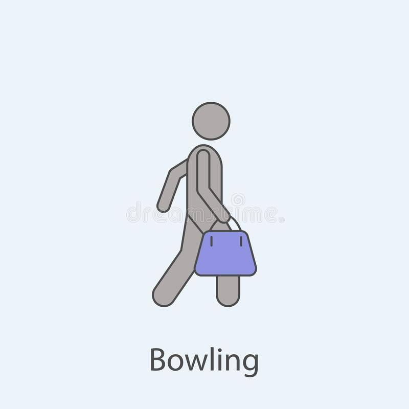 Man with bowling ball bag 2 colored line icon. Simple colored element illustration. Outline symbol design from man with bag set on. Blue background royalty free illustration