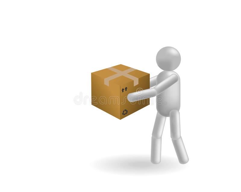 The man and box royalty free illustration