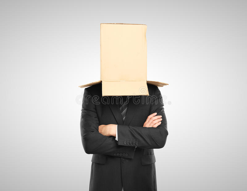 Man with a box. On head royalty free stock images