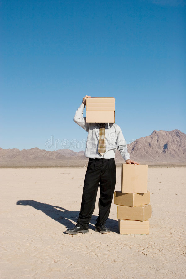 Man with a box stock images