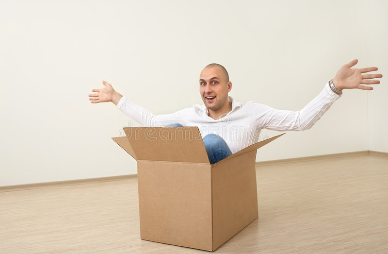 Download A man in  a box stock image. Image of indoors, gesture - 8548897