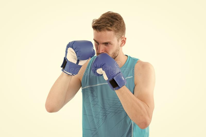 Man boxer training to achieve success in sport. Man training in boxing gloves. Boxing champion. Success attend you. Participating in sport activity stock images