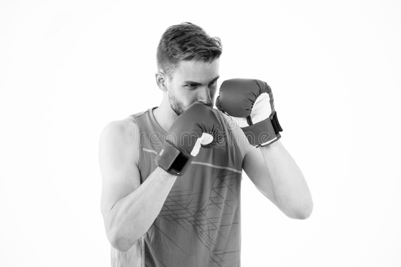 Man boxer training to achieve success in sport. Man training in boxing gloves. Boxing champion. Success attend you. Participating in sport activity stock photo