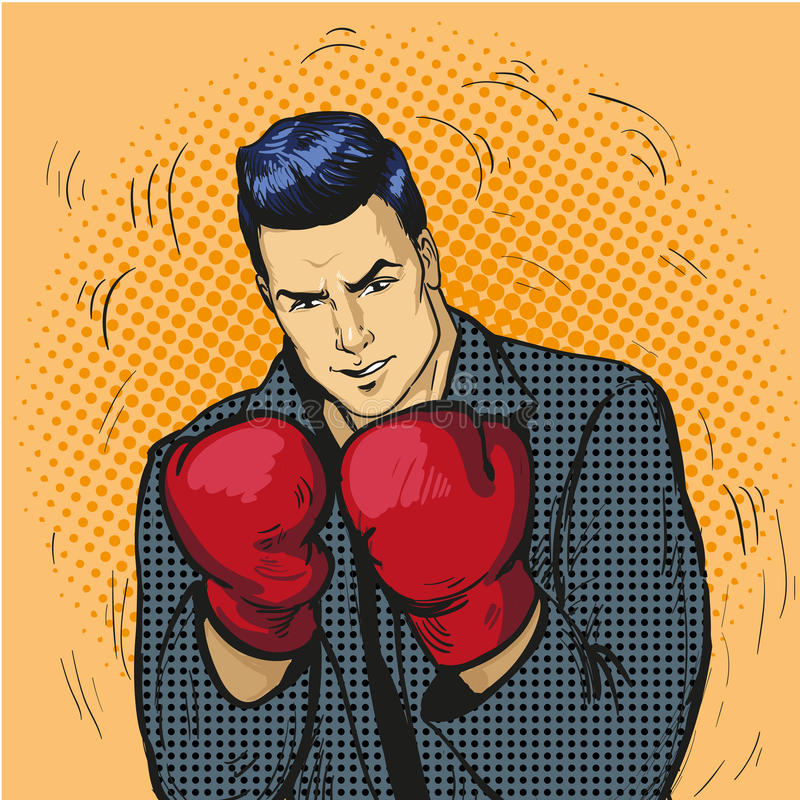 Man in boxing gloves vector illustration in comic pop art style. Businessman ready to fight and protect his business. Concept royalty free illustration