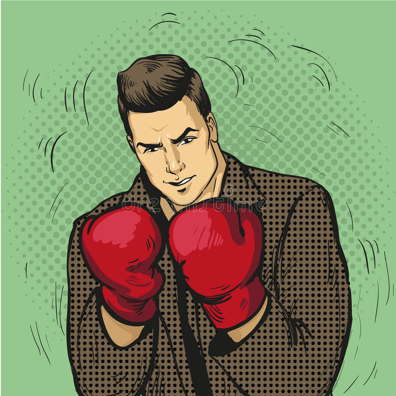 Man in boxing gloves vector illustration in comic pop art style. Businessman ready to fight and protect his business. Concept vector illustration