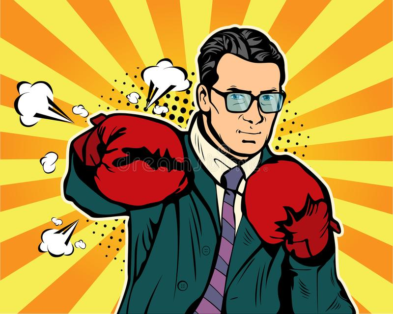 Man in boxing gloves vector illustration in comic pop art style. Businessman ready to fight and protect his business concept. Fight club. Boxing and glove royalty free illustration