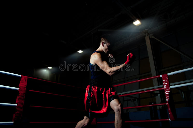 Man boxing in gym royalty free stock image