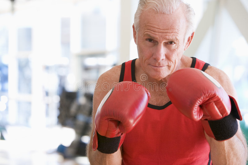 Download Man Boxing At Gym stock image. Image of exercising, gray - 7231291