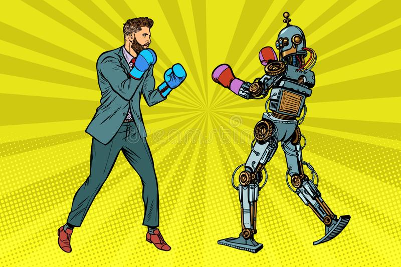 Man Boxing with a robot. Pop art retro vector illustration kitsch vintage royalty free illustration